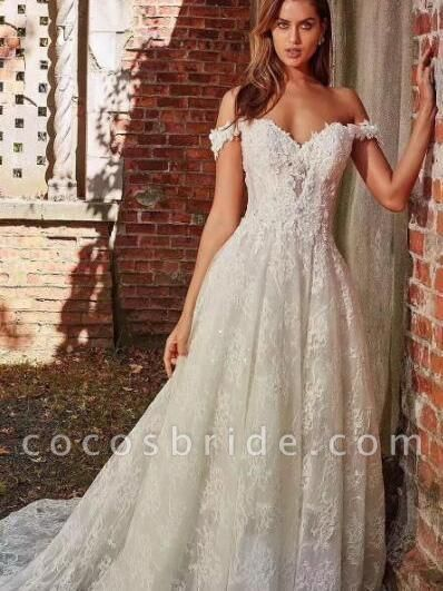 off-the-Shoulder Full Lace Wedding Dresses A-Line Lace Appliques with Court Train