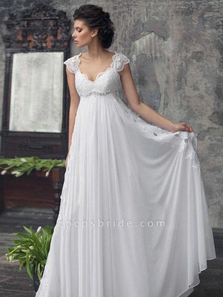 Gorgeous Off-the-Shoulder High Waist A Line Wedding Dresses