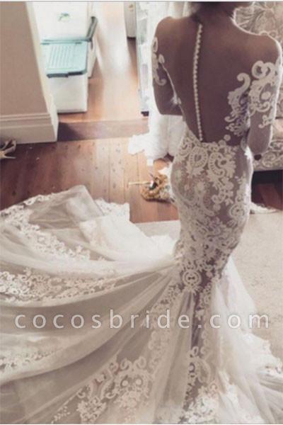 Pretty Mermaid Lace Appliques Long Sleeves Sheer Tulle Wedding Dress