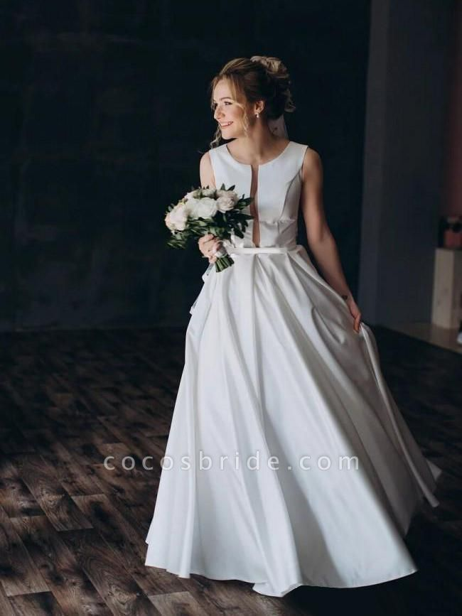 Modest Jewel Open Back Sweep Train A Line Wedding Dresses