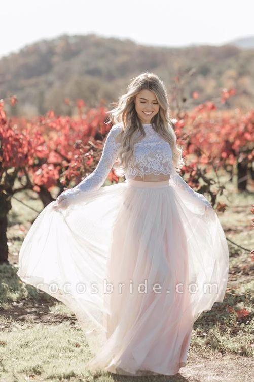Two Piece Long Sleeves Lace Blush Pink Boho Beach Wedding Dress