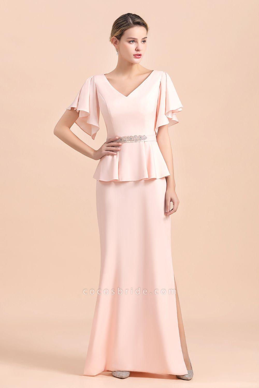Glamorous V-Neck Beadings Sash Pink Mother of Bride Dresses
