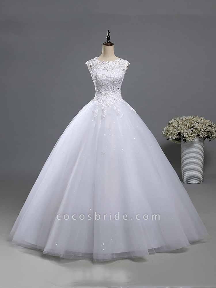 Elegant Beads Lace-Up Ruffles Wedding Dresses