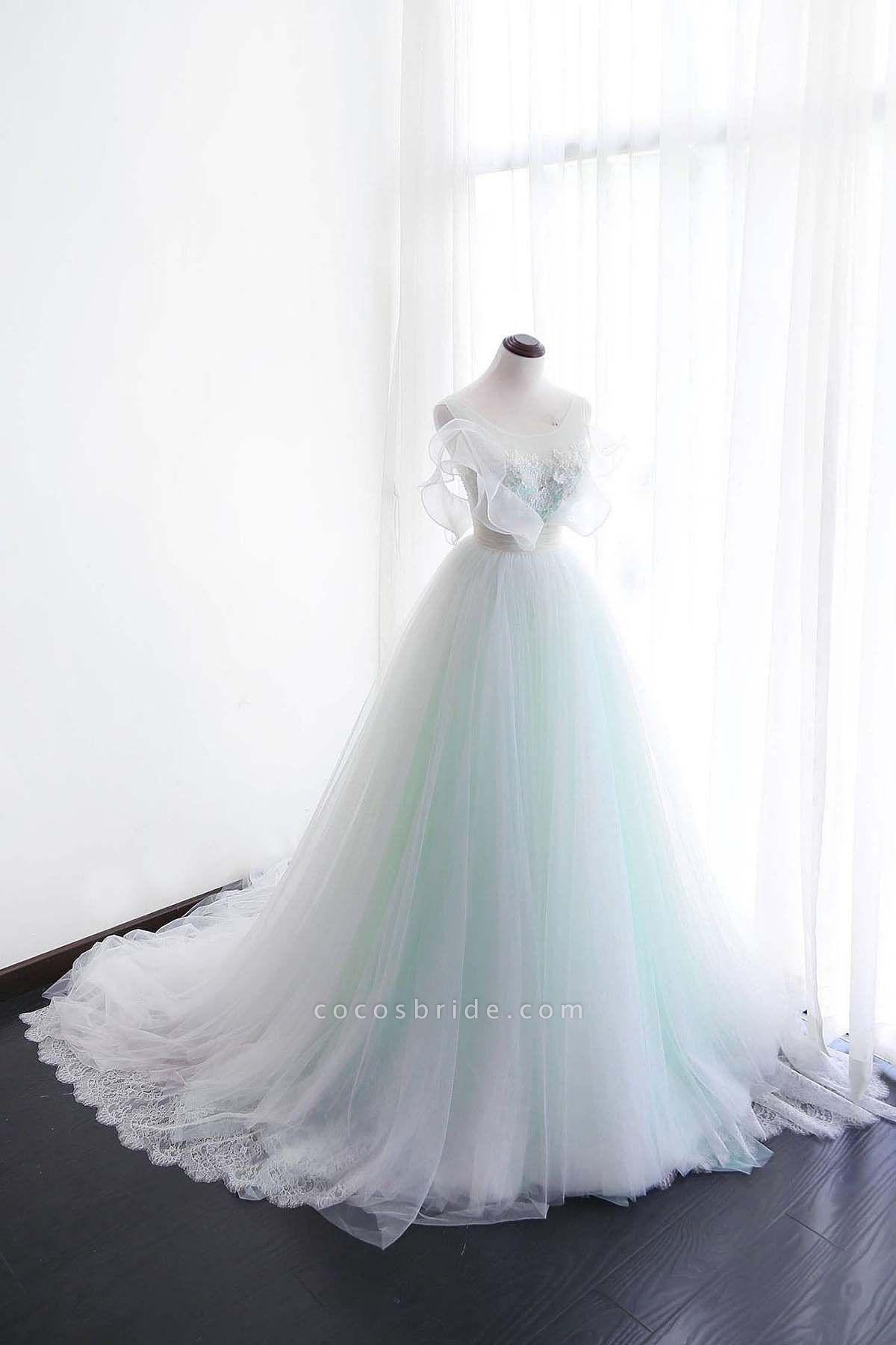 White Tulle Long Scoop Neckline Wedding Dress