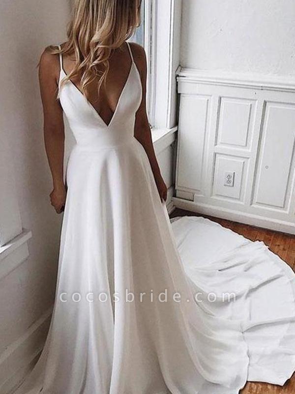 Simple V Neck Chiffon A Line Covered Button Boho Wedding Dresses