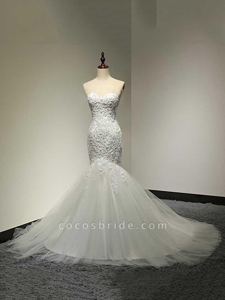Fashion Sweetheart Mermaid Tulle Wedding Dresses
