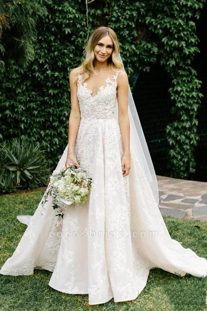 Vintage Appliques Lace Gowns Sleeveless Wedding Dress