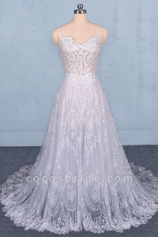 Spaghetti Straps Sweetheart Lace Wedding Dress