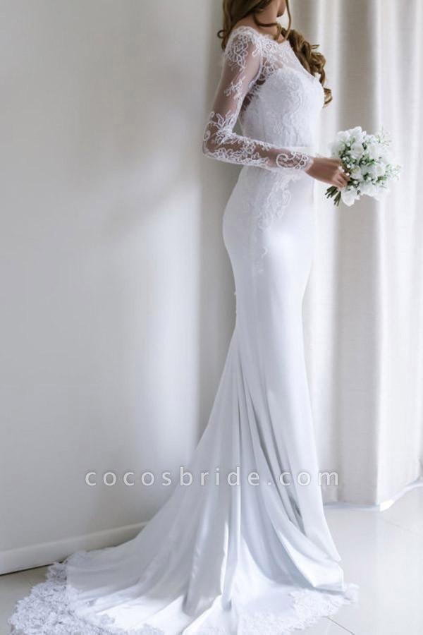 Elegant Illusion Lace Long Sleeves Mermaid Wedding Dress