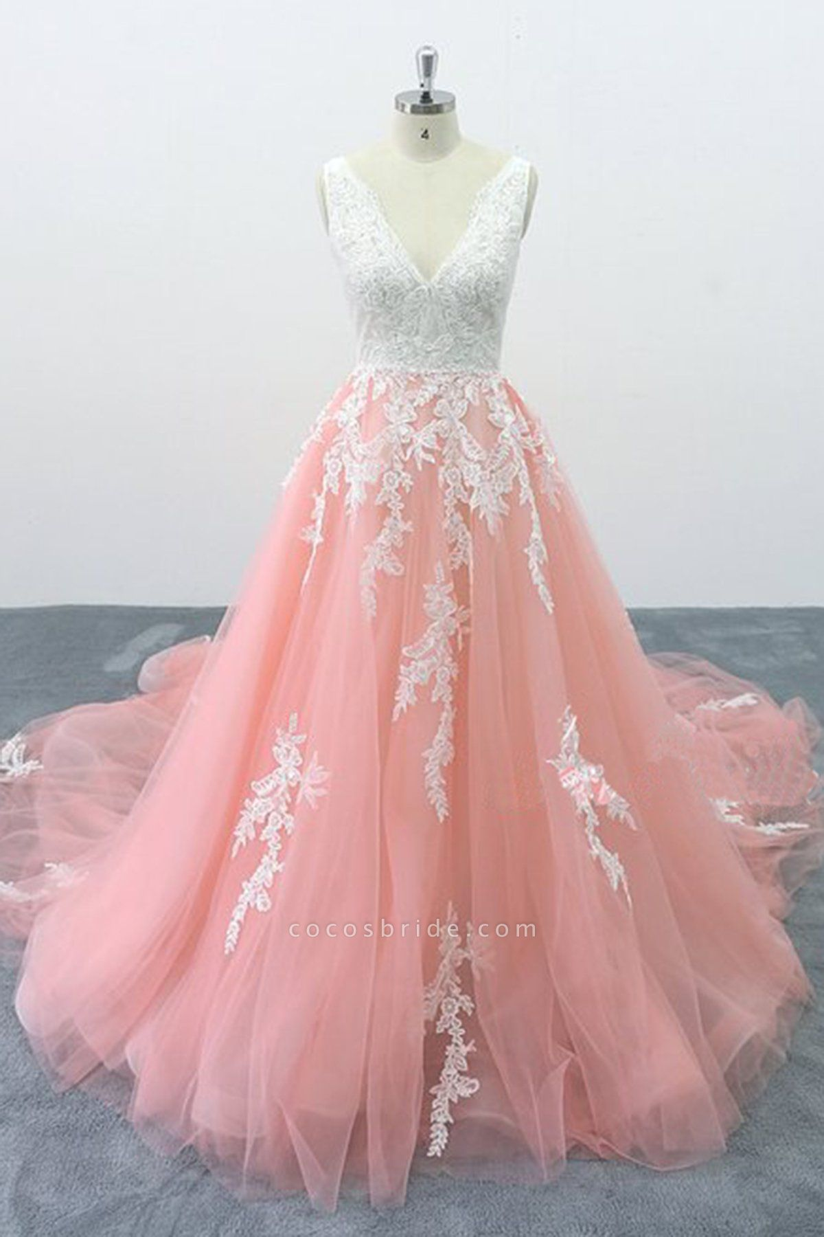 Peach Pink Tulle Cathedral Train Lace Wedding Dress