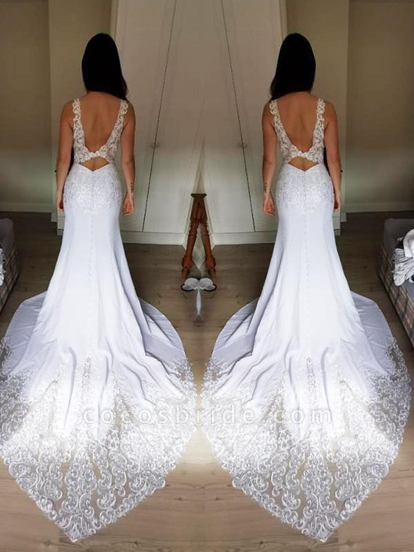 V-Neck Lace Mermaid Wedding Dresses