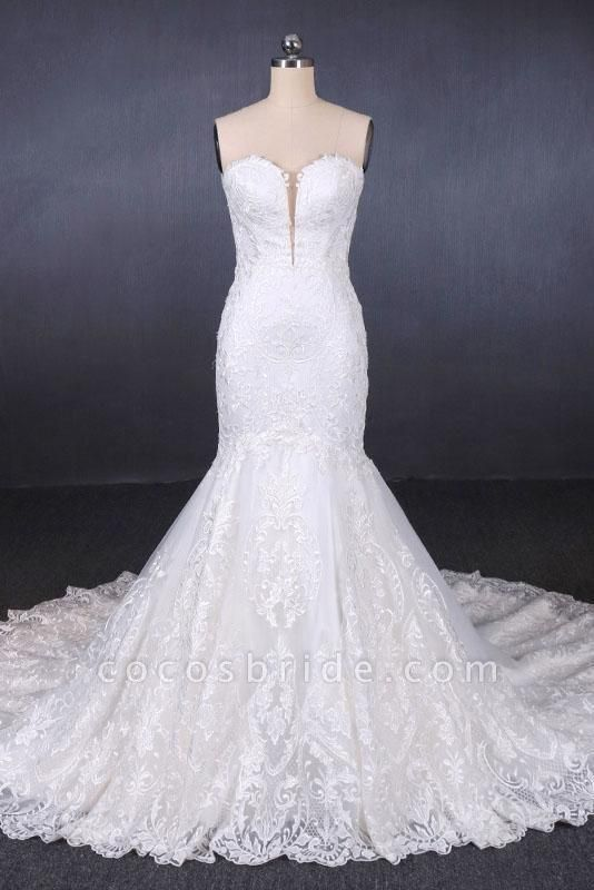 Sweetheart Long Strapless Mermaid Lace Wedding Dress