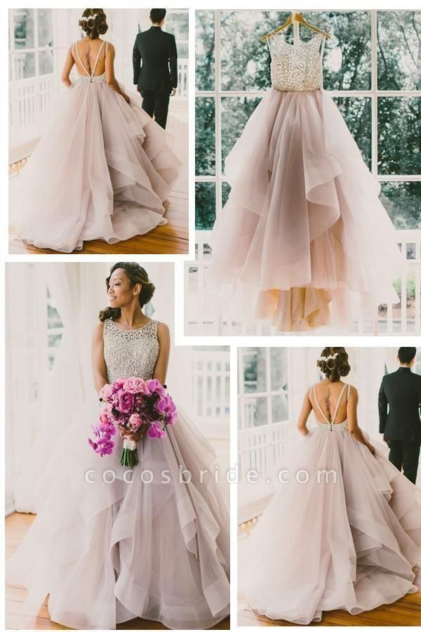Sexy Backless A-Line Beading Long Beach Wedding Dress