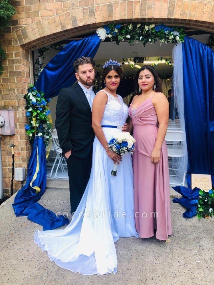 O-Neck Appliques A-Line Wedding Dresses