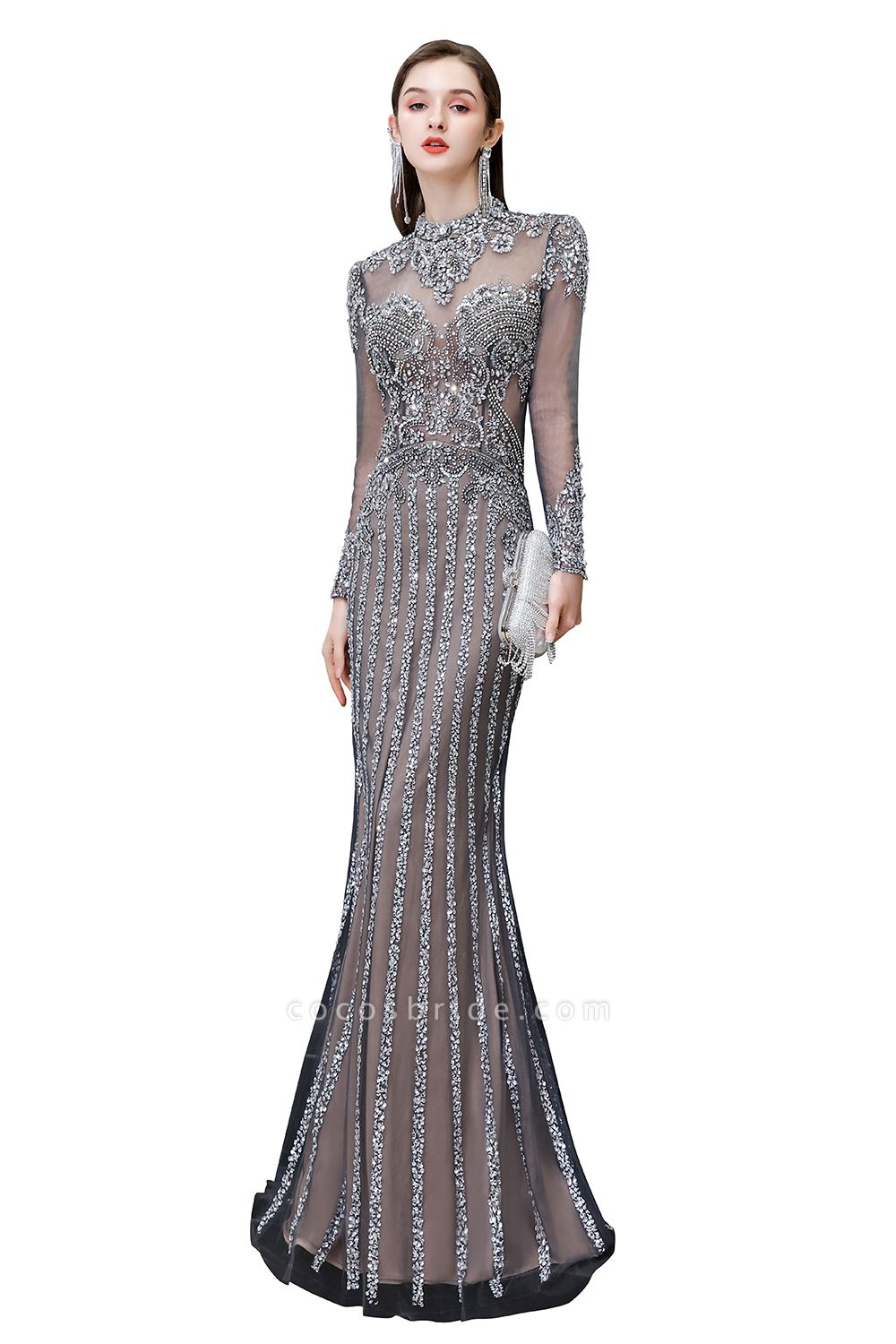 Long Sleeve Mermaid Sequins High-Neck Evening Gowns