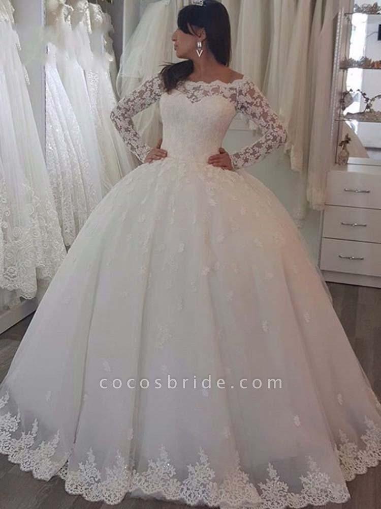 Elegant Bateau Long Sleeves Lace Ball Gown Wedding Dresses