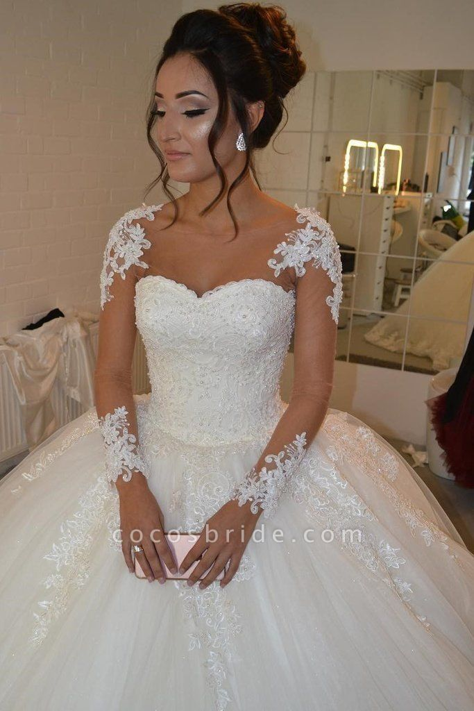 Pretty Sheer Long Sleeves Ivory Lace Appliques Wedding Dress