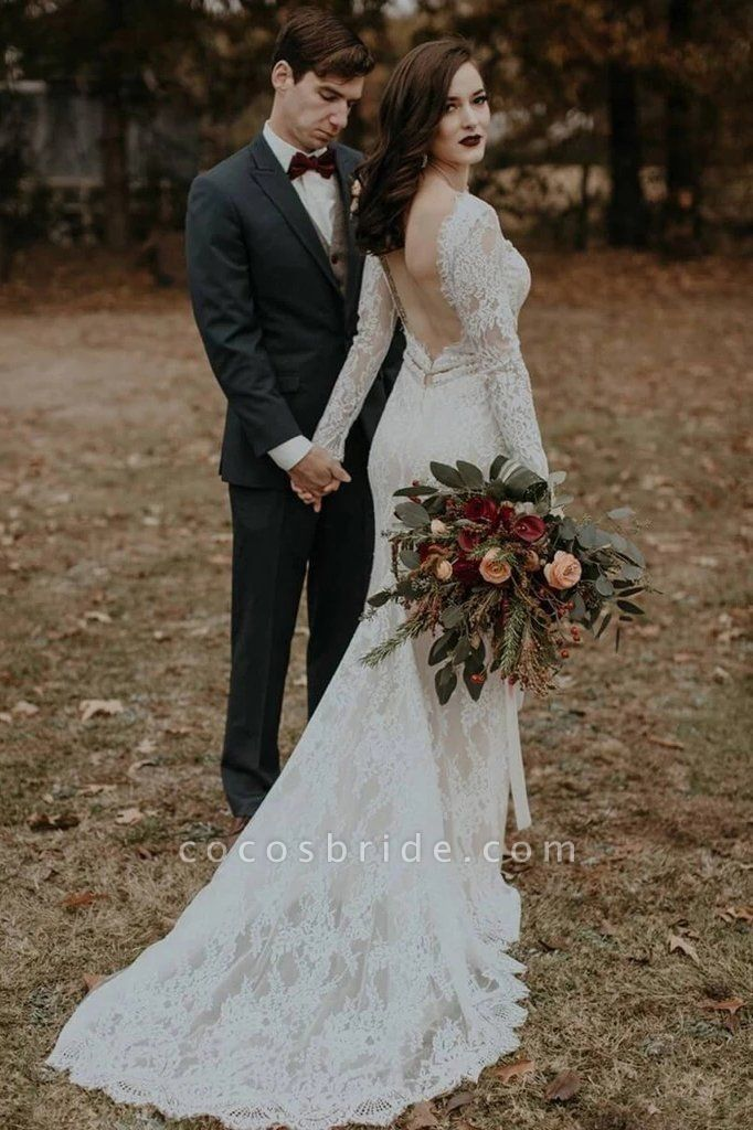 Vintage Long Sleeves Backless Rustic Lace Wedding Dress