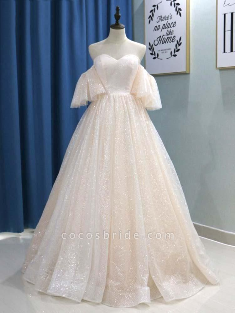 Off-the-Shoulder Half Sleeves Ball Gown Wedding Dresses