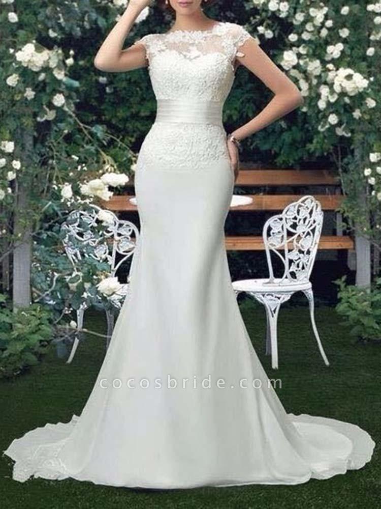 Scoop Cap Sleeves Lace Mermaid Wedding Dresses