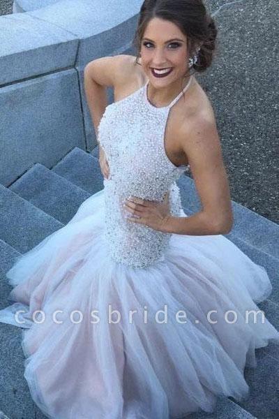 Gorgeous Halter Beading Beaded Backless Mermaid Wedding Dress