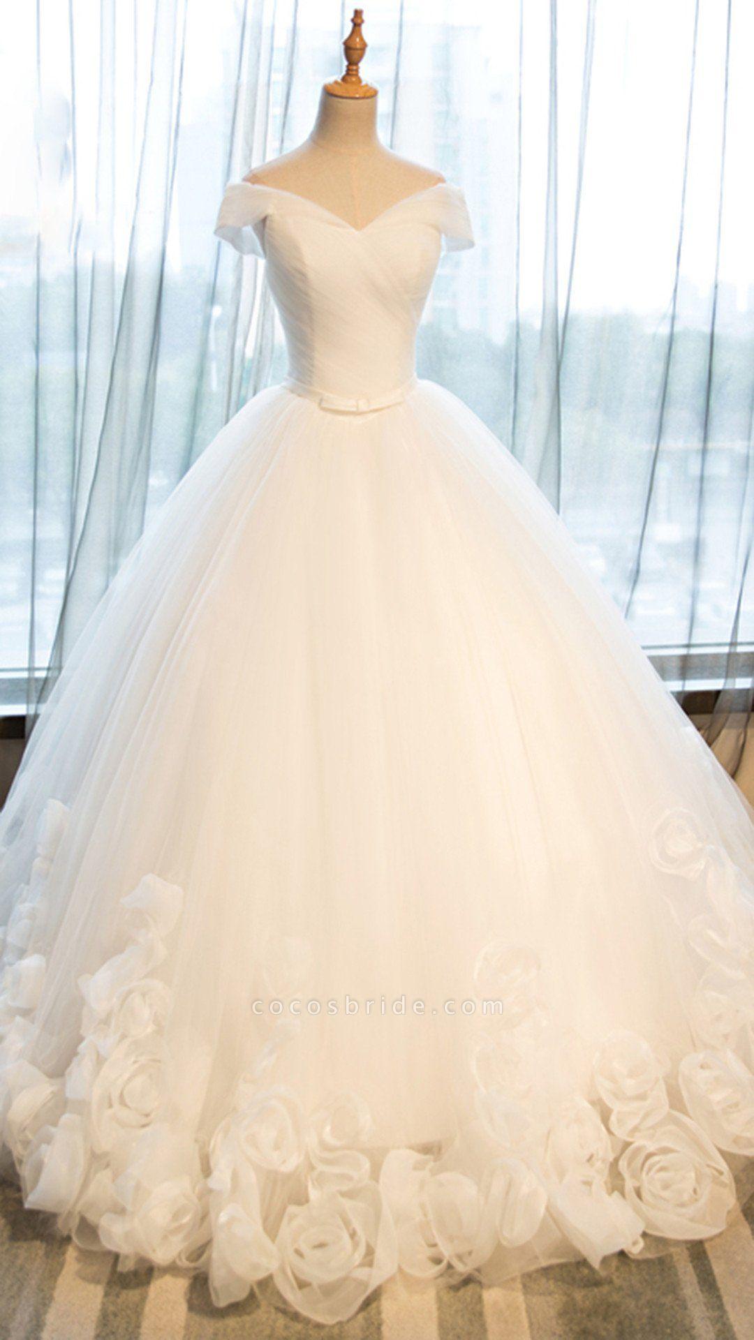White Organza Off-Shoulder Wedding Dresses
