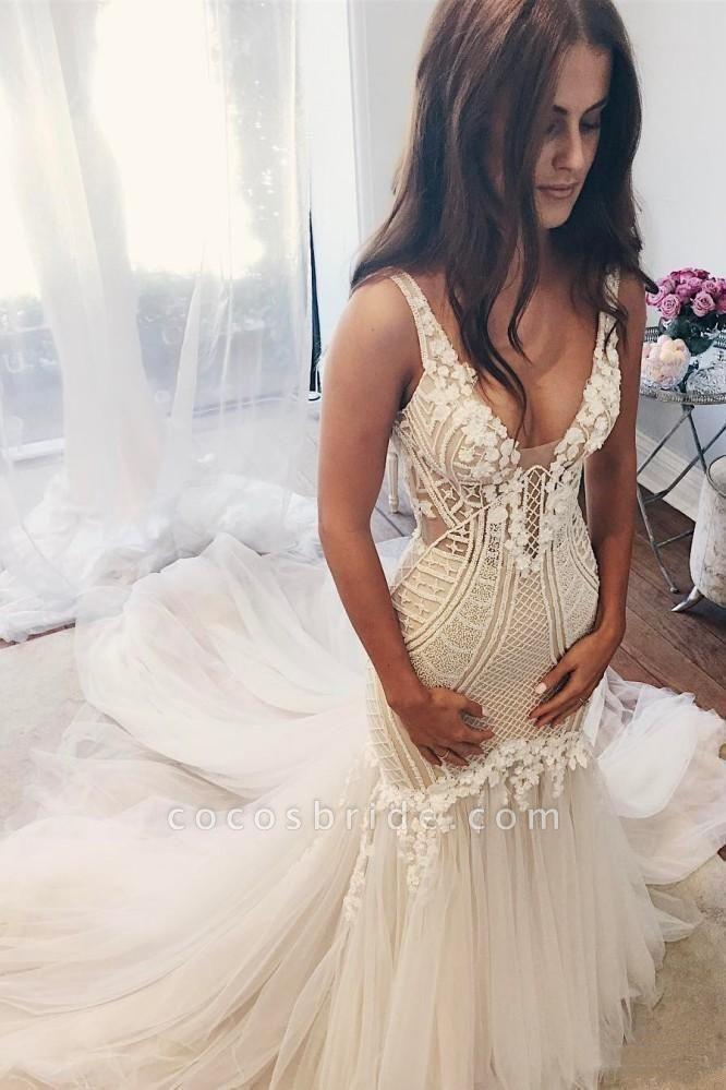 Vintage Mermaid V Neck Backless Tulle Wedding Dress
