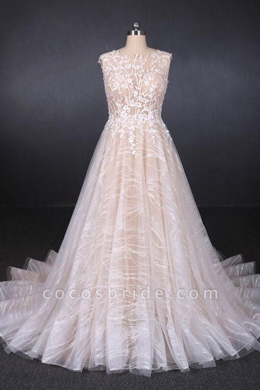 Puffy Sleeveless Lace Elegant A Line Backless Wedding Dress