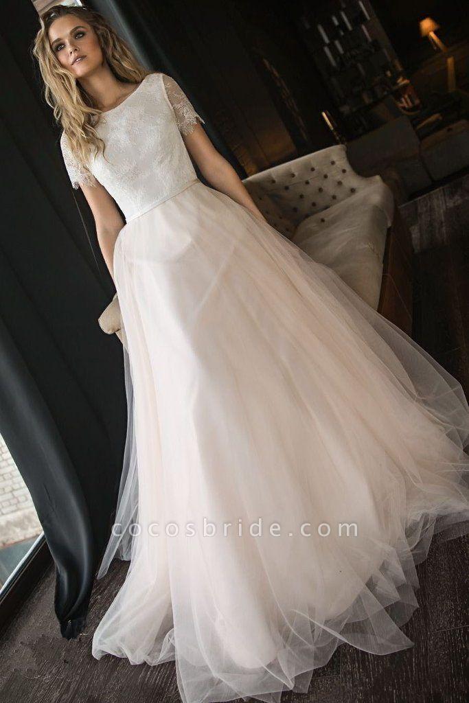 A Line Tulle Short Sleeves Elegant Beach Wedding Dress