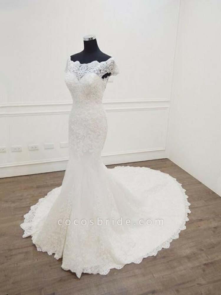 Gorgeous Bateau  Lace Mermaid Sweep Train Wedding Dresses