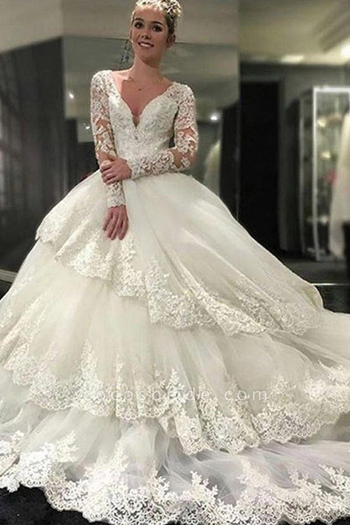Ivory Deep V-Neck Long Sleeves Lace Appliques Chapel Train Tiered Wedding Dress