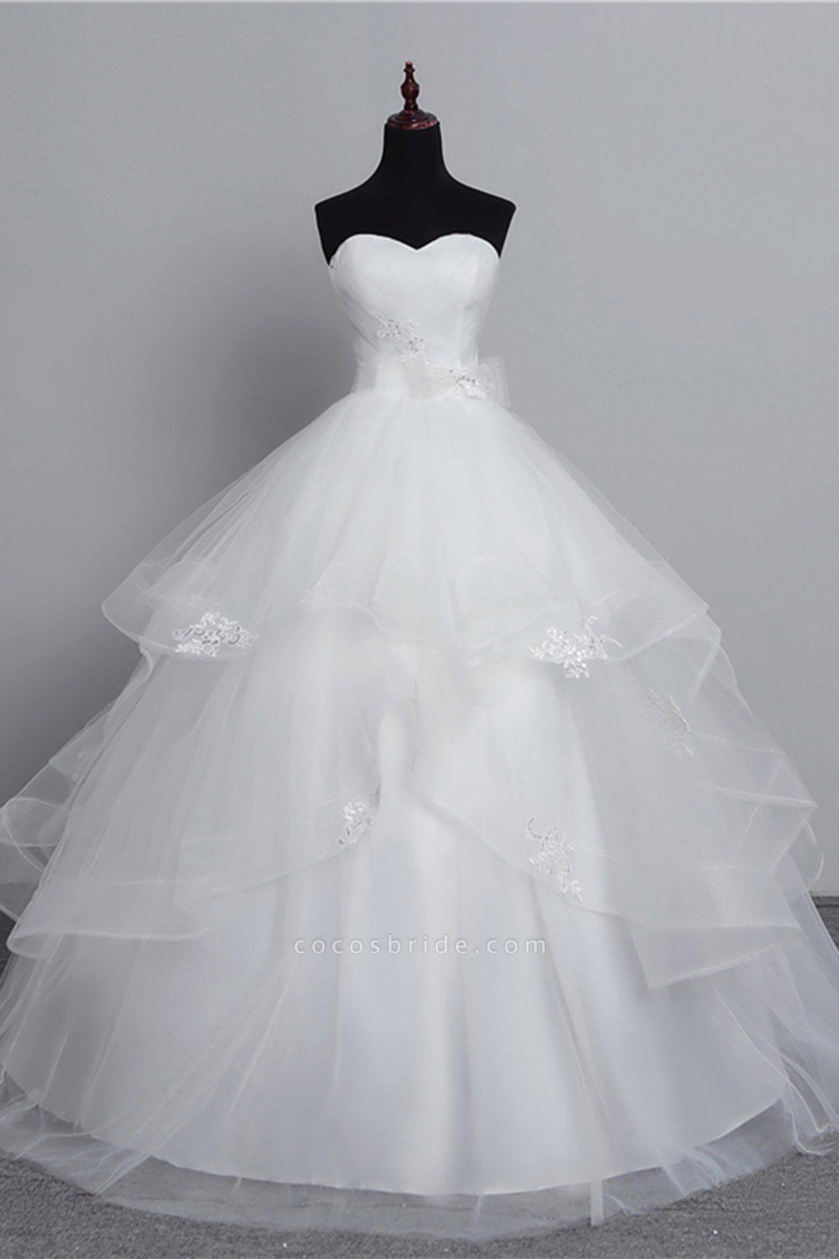 White Tulle Layered Strapless Vintage Wedding Dress