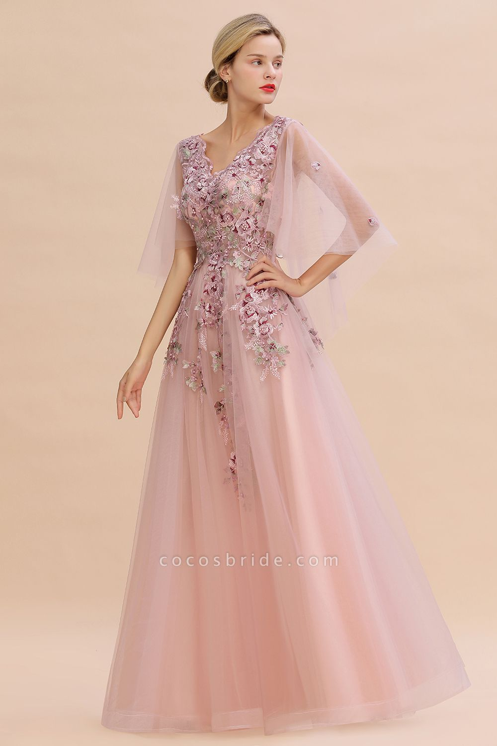 Dusty Pink Tulle Short Sleeve Long Prom Dress