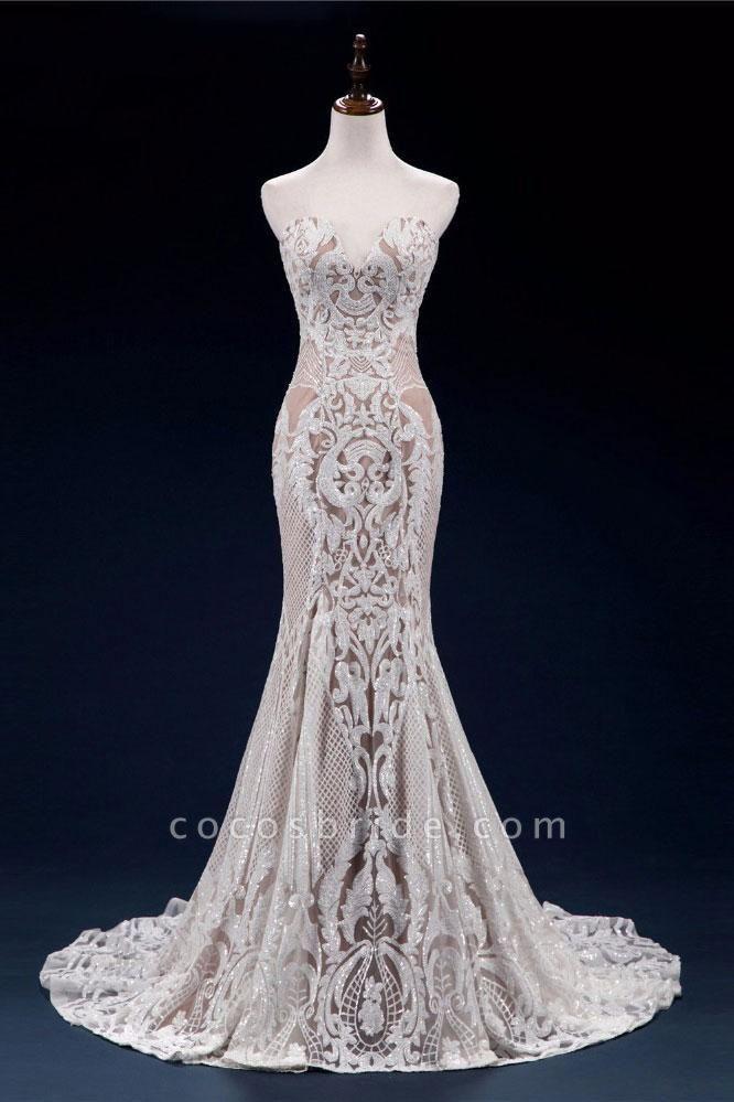 Vintage Lace Tulle Sweetheart Mermaid Wedding Dress