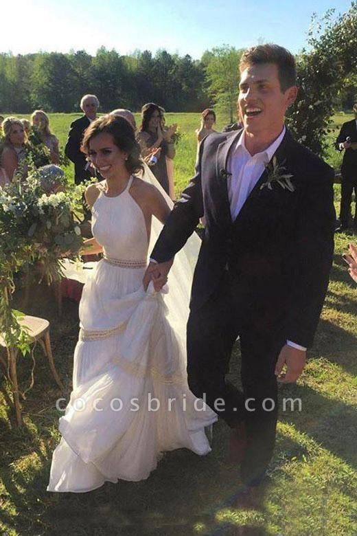 Elegant Halter A-line Long Backless Unique Sleeveless Wedding Dress