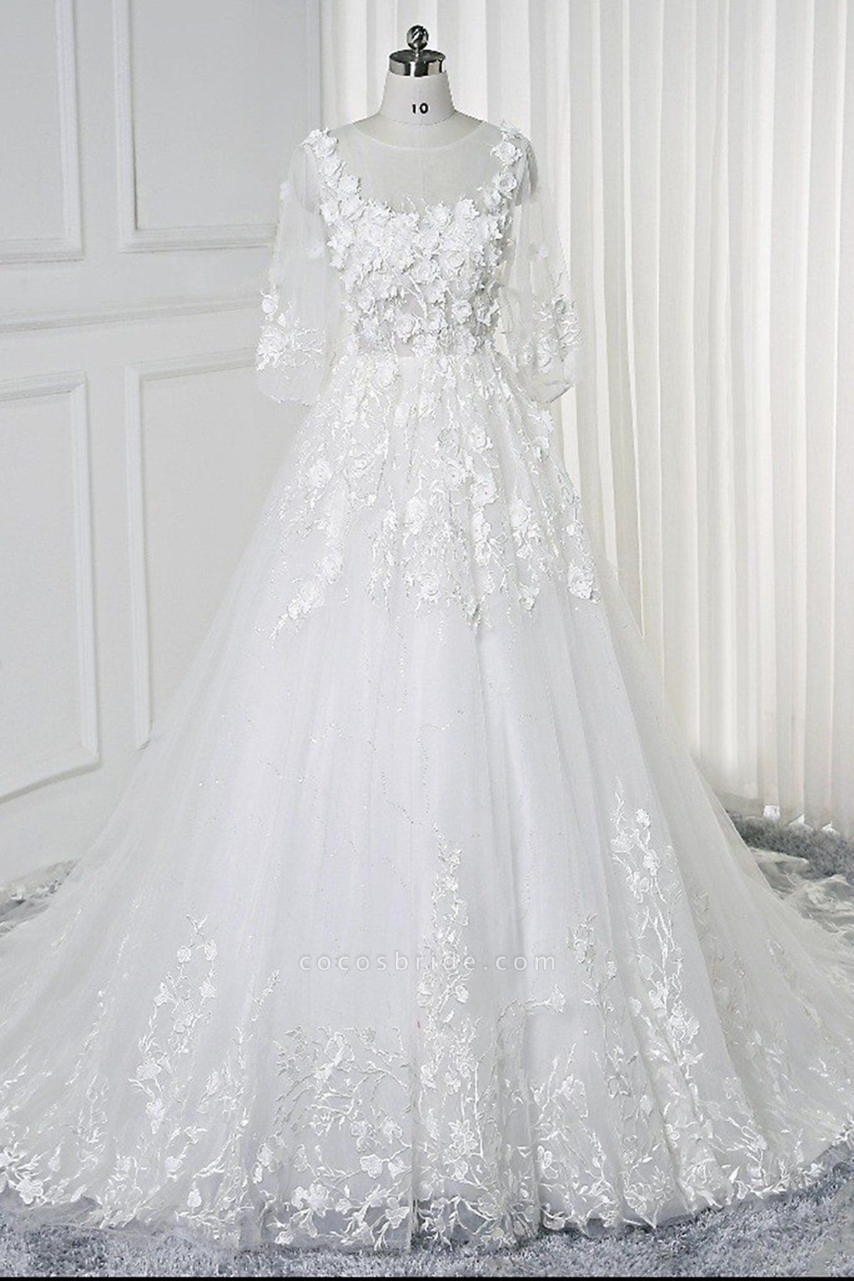 White Lace Flowers Half Sleeves Bridal Wedding Dress