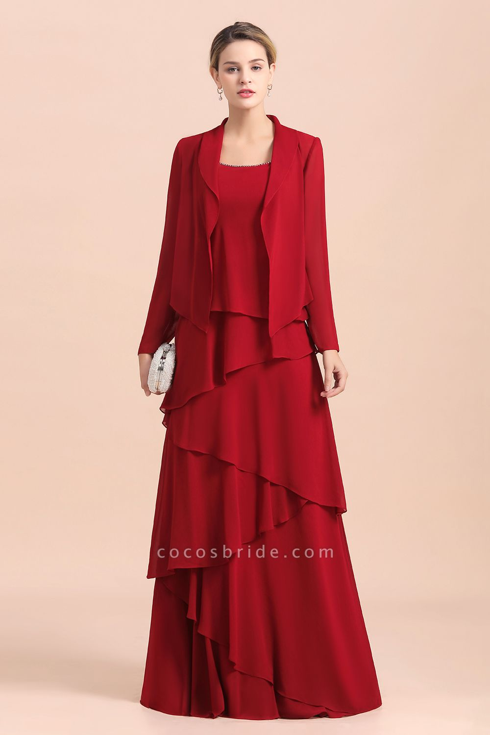 Elegant Burgundy Ruffles Chiffon Mother of the Bride Dress With Jacket