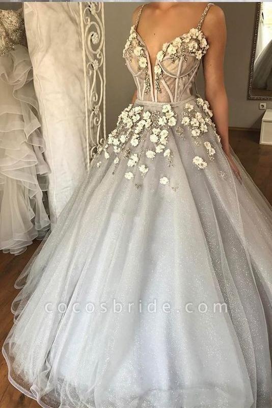 Sexy Straps Ball Gown Appliqued Deep V-neck Wedding Dress