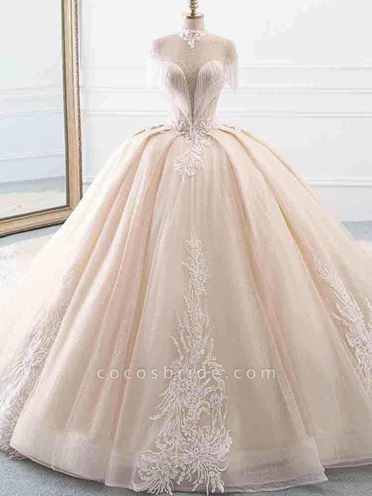 Elegant High Neck Tassel Sleeves Ball Gown Wedding Dresses