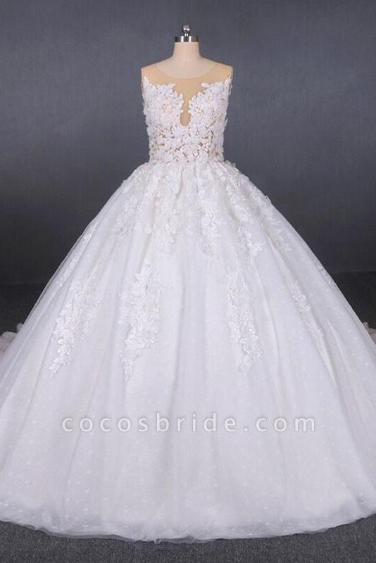 Ball Gown Sheer Neck Sleeveless White Lace Appliqued Wedding Dress