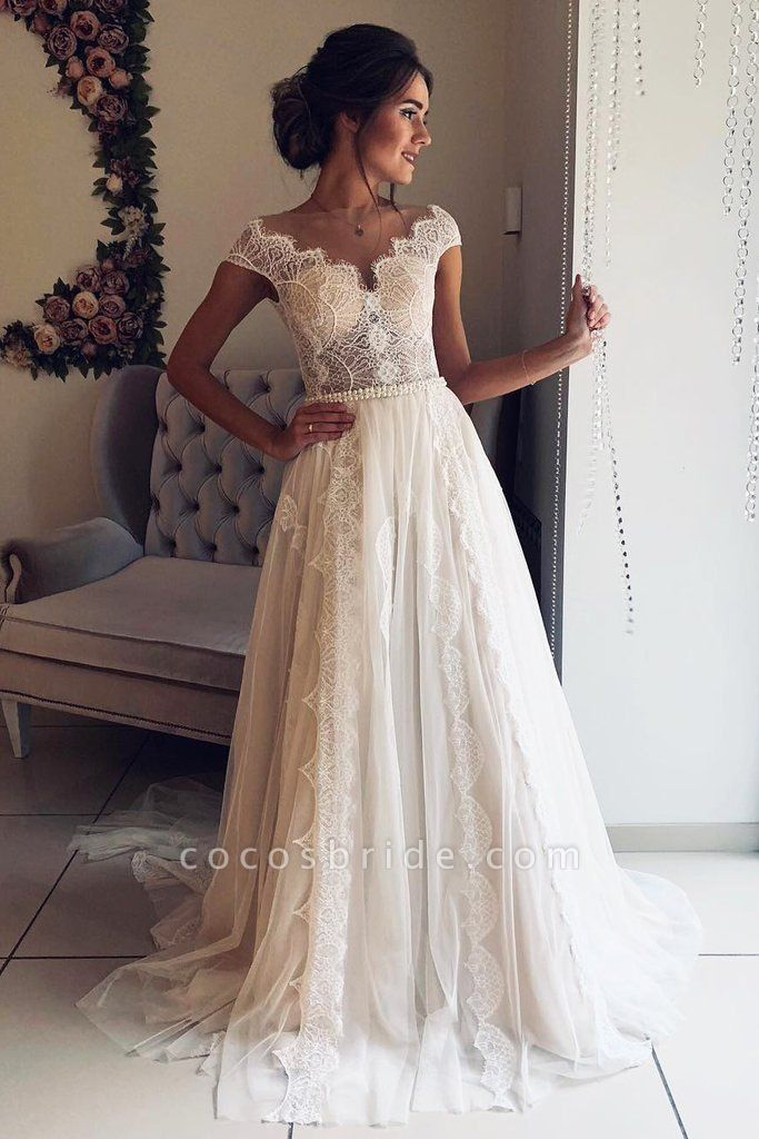 A-Line Scalloped-Edge Lace with Sheer Back Ivory Tulle Wedding Dress