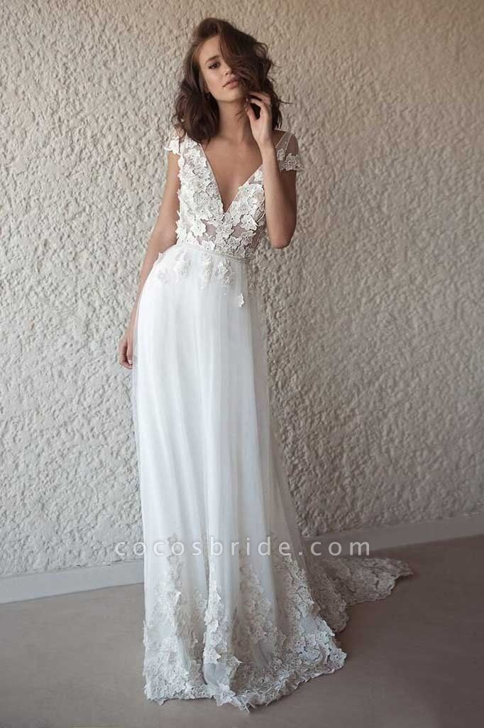 Ivory Cap Sleeve V Neck Beach Boho Appliques Wedding Dress