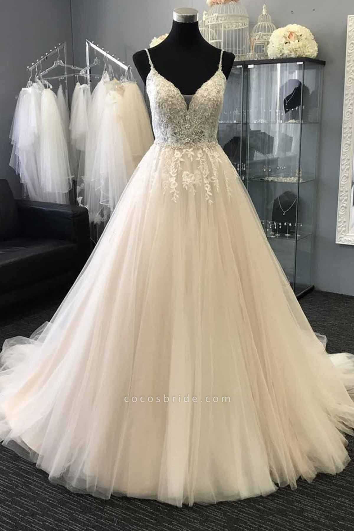 Sweetheart Neck Long Lace Top White Long Wedding Dress