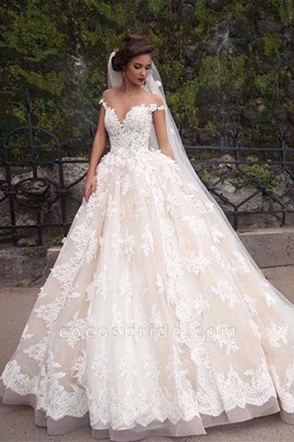 Gorgeous Sheer Neck Cap Sleeves Lace Appliques A Line Wedding Dress