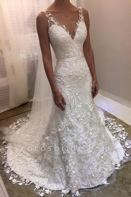 Ivory V Neck Sheath Sleeveless Backless Charming Lace Wedding Dress