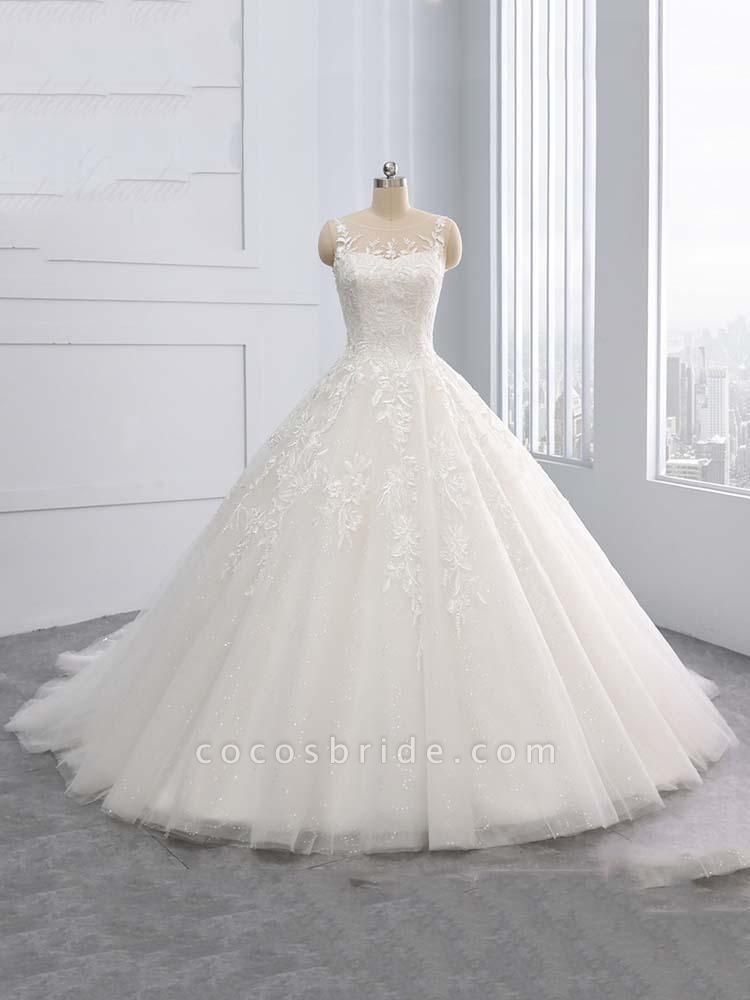Gorgeous Lace-Up Sweep Train Ball Gown Wedding Dresses