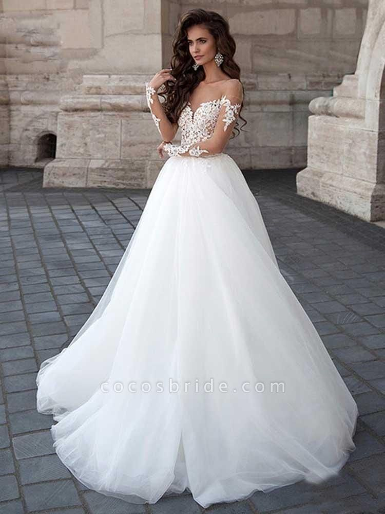 New Long Sleeve Backless Lace A-Line Tulle Wedding Dresses