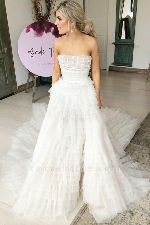 A-Line Strapless Tiered Court Train Ivory Tulle Beach Wedding Dress