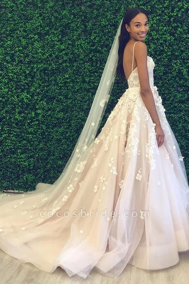 Spaghetti Straps Sweetheart Backless Puffy Tulle Wedding Dress