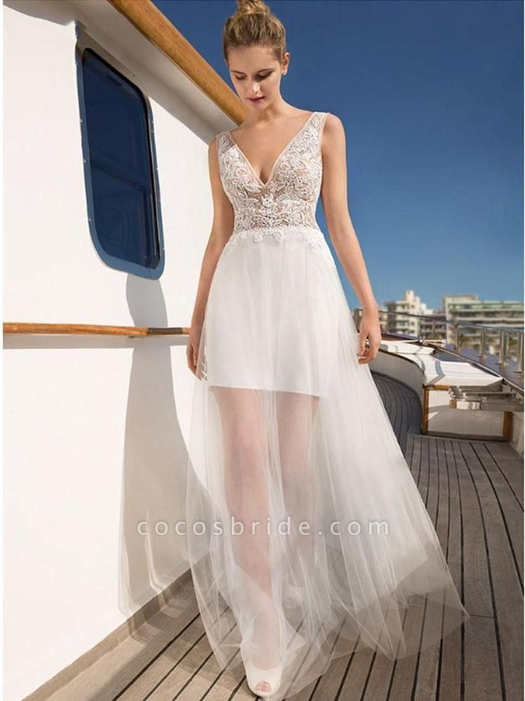 V Neck Sleeveless Backless Boho Wedding Dresses